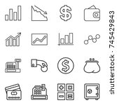 thin line icon set   graph ... | Shutterstock .eps vector #745429843