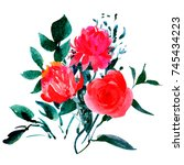 isolated watercolor floral... | Shutterstock . vector #745434223