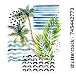 abstract summer background. art ... | Shutterstock . vector #745442773