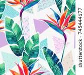 watercolor tropical flowers on... | Shutterstock . vector #745444177