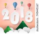designl happy new year 2018 ... | Shutterstock .eps vector #745445167
