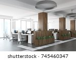 white and wooden open space... | Shutterstock . vector #745460347