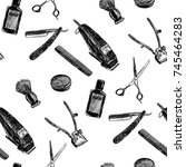barber pattern .vector black... | Shutterstock .eps vector #745464283