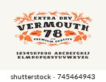 ornate serif font in retro... | Shutterstock .eps vector #745464943