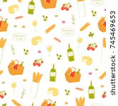 paris picnic seamless pattern | Shutterstock .eps vector #745469653