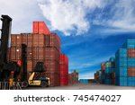 container ship yard in import... | Shutterstock . vector #745474027