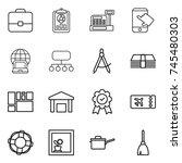 thin line icon set   portfolio  ... | Shutterstock .eps vector #745480303