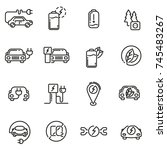 electric car linear icons set.... | Shutterstock . vector #745483267