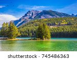the sun warms the picturesque... | Shutterstock . vector #745486363