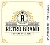 vintage luxury monogram logo... | Shutterstock .eps vector #745486633