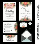 vector set of invitation cards... | Shutterstock .eps vector #745489603