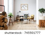 apartment corner with pictures  ... | Shutterstock . vector #745501777