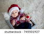 christmas portrait of cute... | Shutterstock . vector #745501927