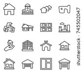 thin line icon set   home ... | Shutterstock .eps vector #745502047