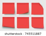 red post note set vector. notes ... | Shutterstock .eps vector #745511887