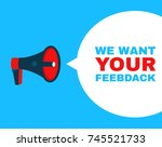 megaphone with we want your... | Shutterstock .eps vector #745521733