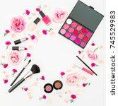 feminine round desk with... | Shutterstock . vector #745529983