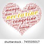 nectarine. word cloud in shape... | Shutterstock .eps vector #745535017