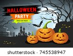 vector happy halloween party... | Shutterstock .eps vector #745538947
