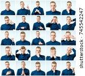set of handsome emotional man... | Shutterstock . vector #745542247