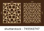 laser cutting set. woodcut... | Shutterstock .eps vector #745543747