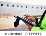 modern technology at the... | Shutterstock . vector #745544953