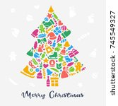 merry christmas greeting card.... | Shutterstock .eps vector #745549327