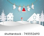 merry christmas and happy new... | Shutterstock .eps vector #745552693