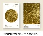 neon gold explosion paint... | Shutterstock .eps vector #745554427