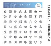 set of 56 physics line icons... | Shutterstock .eps vector #745554553