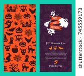 vector halloween party thin... | Shutterstock .eps vector #745559173
