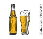 bottle and glass of beer... | Shutterstock .eps vector #745563397