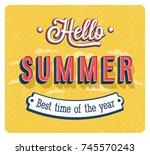 hello summer typographic design.... | Shutterstock .eps vector #745570243