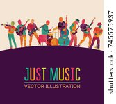 colorful music background.... | Shutterstock .eps vector #745575937