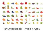 fruits illustrations set on... | Shutterstock . vector #745577257