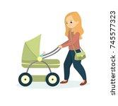 mother with kid walking....   Shutterstock . vector #745577323