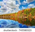 landscape of autumn colored... | Shutterstock . vector #745580323