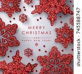 christmas background with... | Shutterstock .eps vector #745588747