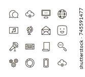 social network icon set.... | Shutterstock .eps vector #745591477