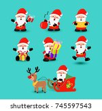 christmas holiday set of cute... | Shutterstock .eps vector #745597543