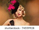 beautiful woman retro portrait | Shutterstock . vector #74559928