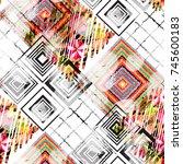 seamless pattern patchwork... | Shutterstock . vector #745600183