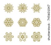 vector set of 6 elements. line... | Shutterstock .eps vector #745601047