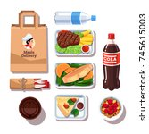 restaurant meals delivery... | Shutterstock .eps vector #745615003