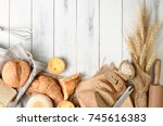 homemade breads or bun ... | Shutterstock . vector #745616383