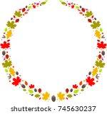 autumn leaves label wreath | Shutterstock .eps vector #745630237