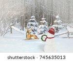 Snowman And Deer In Winter...