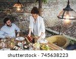 pretty caucasian smiling woman...   Shutterstock . vector #745638223