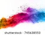 multicolored powder explosion... | Shutterstock . vector #745638553