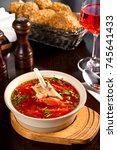 duck soup with vegetables and...   Shutterstock . vector #745641433